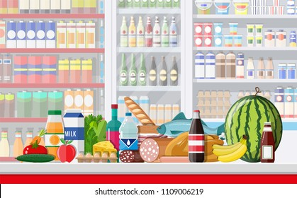 Supermarket store interior with goods. Big shopping mall. Interior store inside. Checkout counter, grocery, drinks, food, fruits, dairy products. Vector illustration in flat style