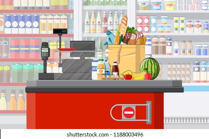 Supermarket store interior with goods. Big shopping mall. Interior store inside. Checkout counter, cash machine, grocery, drinks, food, fruits, dairy products. Vector illustration in flat style