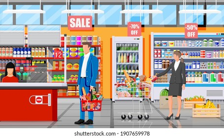 Supermarket store interior with goods. Big shopping mall. Groceries shop. Inside of super market. Customer with basket full of food. Grocery, drinks, fruits, dairy products. Flat vector illustration