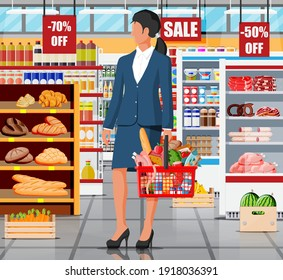Supermarket store interior with goods. Big shopping mall. Interior store inside. Woman customer with basket, grocery, drinks, food, fruits, dairy products. Vector illustration in flat style