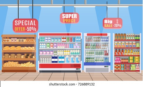 Supermarket store interior with goods. Big shopping mall. Interior store inside. Grocery, drinks, food, fruits, dairy products. Vector illustration in flat style
