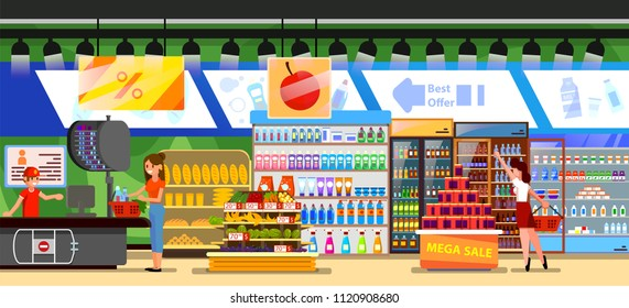 Supermarket store interior with goods.  Grocery, drinks, food, fruits, dairy products with people and checkout counter. Flat design vector illustration.