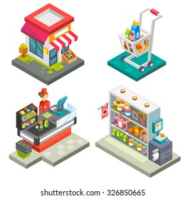 Supermarket and store stuff: cart with goods, store shelves, salesgirl, cashbox, cash desk,  scales. Flat vector stock illustration set.