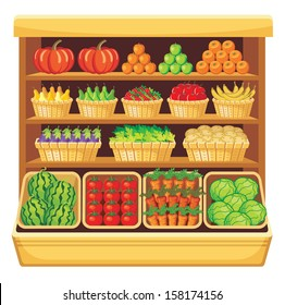 Supermarket. Vegetables and fruits. vector