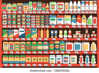 Supermarket.Colorful  shelves with products and drinks. Vector illustration.