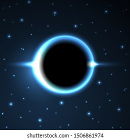 Supermassive Black Hole or Solar Eclipse. Blue Deep Space. The Black Hole Destroys The Blue Star. Vector Illustration