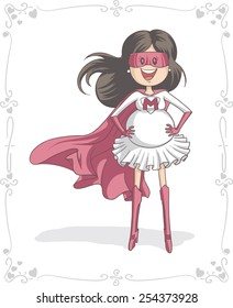 Supermom Character and Card Vector Design - Vector cartoon of a pregnant super heroine. Mother's Day vector illustration