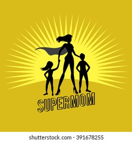 supermom holding her children