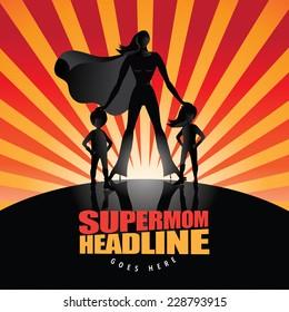 Supermom with kids burst background EPS 10 vector