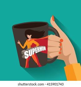 Supermom mug design. EPS 10 vector.