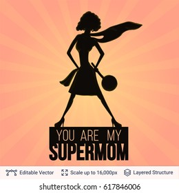 Supermom Silhouette on Backgrounds with Comics Rays. Mother's day Illustration.