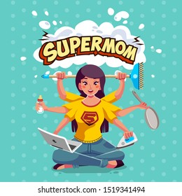 supermom or super mother have many hand doing home work. women multitasking doing many home work like have many arm - vector