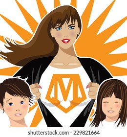 Supermom with two children closeup EPS 10 vector