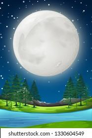 A supermoon night scene illustration