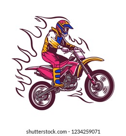 Supermoto Rider Ride a Supermoto Bike Illustration