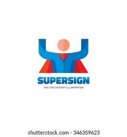 Supersign - vector logo template concept in flat style. People human character. Hero sign. Super icon. Flying man. Design element.
