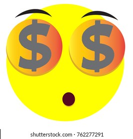 Supersize face icon with dollar emoji symbol