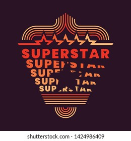 """""""Superstar"""" background design in retro style with typography and various graphic elements. Vector illustration."""