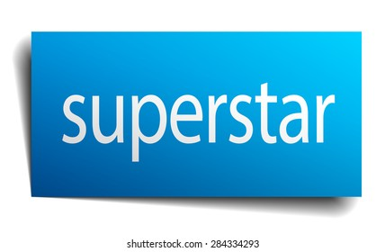 superstar blue paper sign on white background