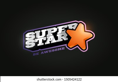 Superstar mascot Modern professional sport Typography in retro style. Vector design emblem, badge and sporty template logo design