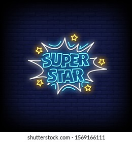 Superstar Neon Signs Style Text Vector