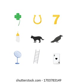 Superstitious symbols flat color vector objects set. Various good and bad luck signs 2D isolated cartoon illustrations on white background. Four leaf clover, lucky seven, black cat and rabbit foot