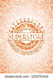 Superstore abstract emblem, orange mosaic background