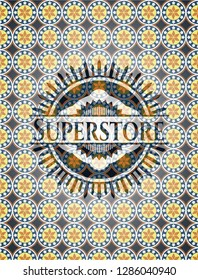 Superstore arabic style badge. Arabesque decoration.