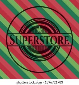 Superstore christmas style emblem. Vector Illustration. Detailed.