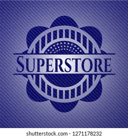 Superstore emblem with jean texture