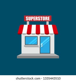 superstore front exterior facade.flat design.superstore building - superstore icon.