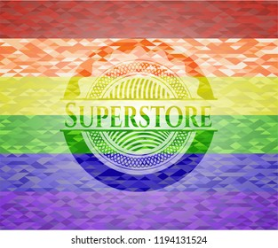 Superstore on mosaic background with the colors of the LGBT flag