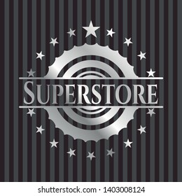 Superstore silver badge. Vector Illustration. Mosaic.