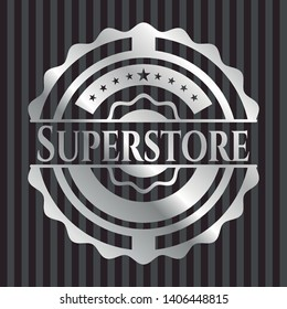 Superstore silvery badge or emblem. Vector Illustration. Mosaic.