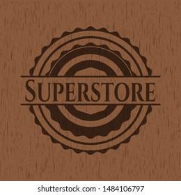 Superstore wood emblem. Retro. Vector Illustration.