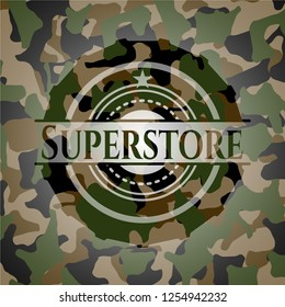 Superstore written on a camouflage texture