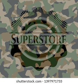 Superstore written on a camouflage texture. Vector Illustration. Detailed.
