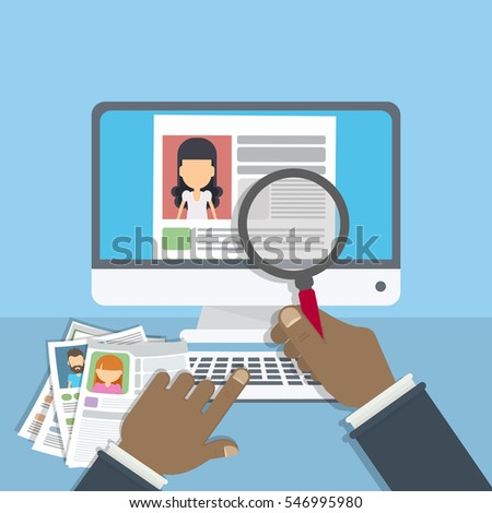 supervising accepting resume director considering cv stock vector