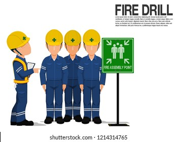 A supervisor is checking the workers at the fire assembly point