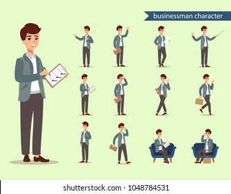 Supervisor personage. Businessman character set. Animate character. Male personage constructor. Different man postures. Vector set personage.