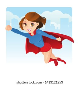 Superwoman flying in the city