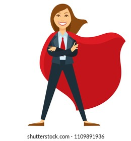 Superwoman in formal office suit with red tie and cloak