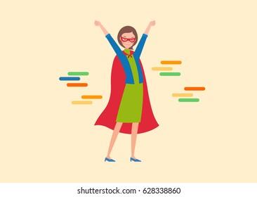 The superwoman raised both hands.