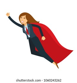 Superwoman or super woman office manager flying with hand up vector cartoon character icon