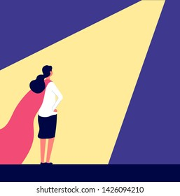 Superwoman. Woman in red cape in spotlight, candidate choosing and talent people selecting. Career growth, recruiting vector concept. Illustration of business spotlight, opportunity for super woman