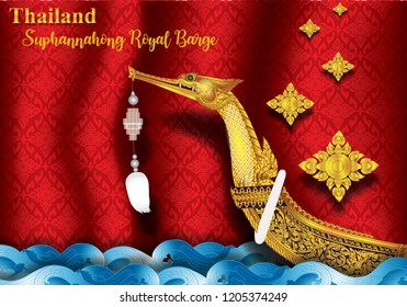 Suphannahong Royal Barge Royal Thai Navy Background Thai Pattern Thai Flower River Card greetings for important people.