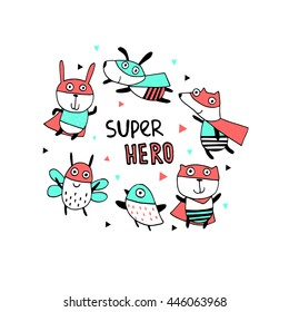 Supper hero.Cartoon character of cute animal