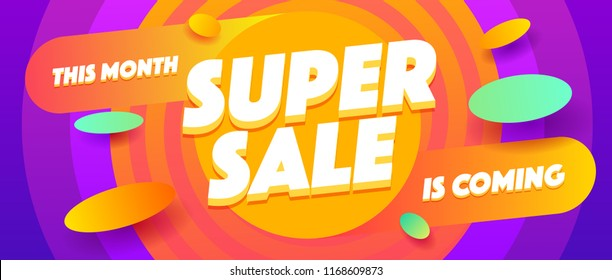 Supper sale poster or flyer design.Fluid promotion gradient shapes composition.