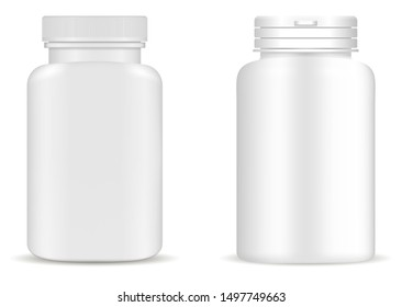 Supplement bottle. Pill jar mockup. Medicine white vector plastic package design. 3d medical container blank. Vitamin tablet box. Pharmaceutical capsule can illustration collection