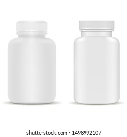 Supplement bottle. Plastic capsule jar for vitamin. White medical packaging template. Realistic remedy package with cap. Pharmaceutical container for aspirin medicament. Empty can without logo